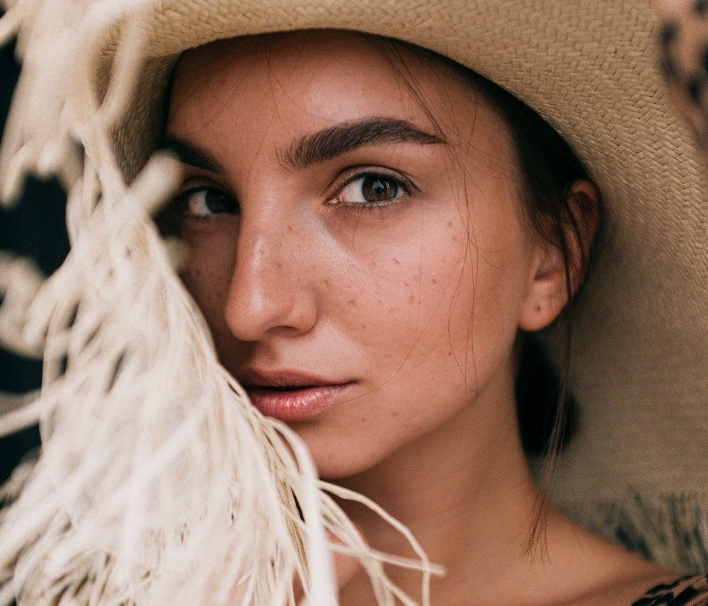 beautiful woman with straw hat