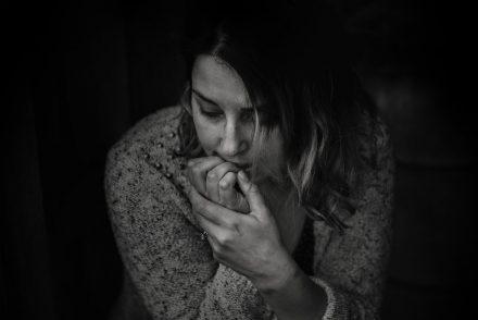Sad woman black and white