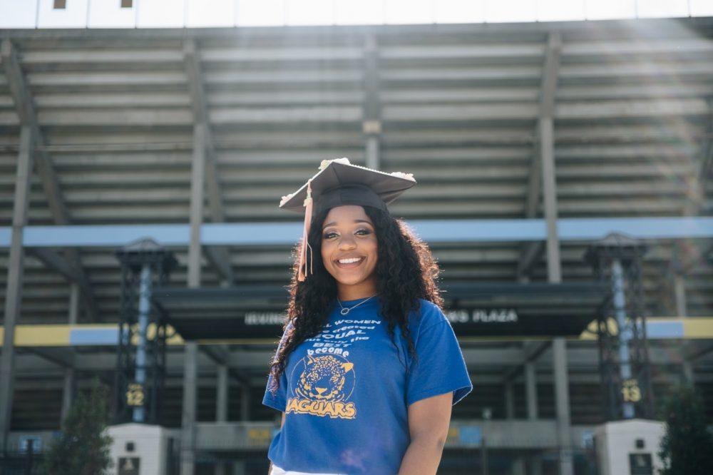 woman on graduating day