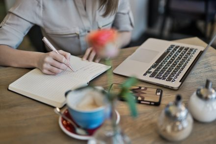Woman writing cover letter