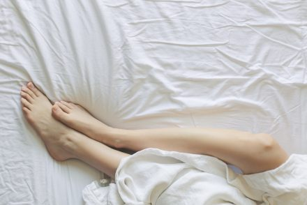 view of legs wrapped in sheet