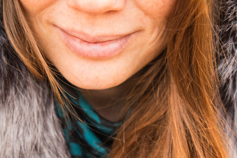 woman's lips smiling