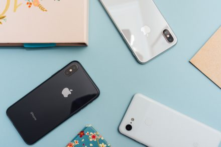 Flat lay of iPhones