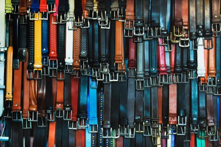 Array of leather belts