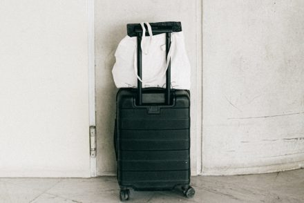 black luggage back
