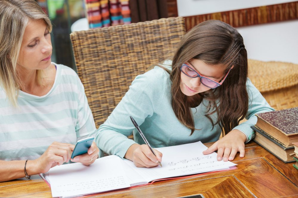 student taking tutoring courses with blonde teacher