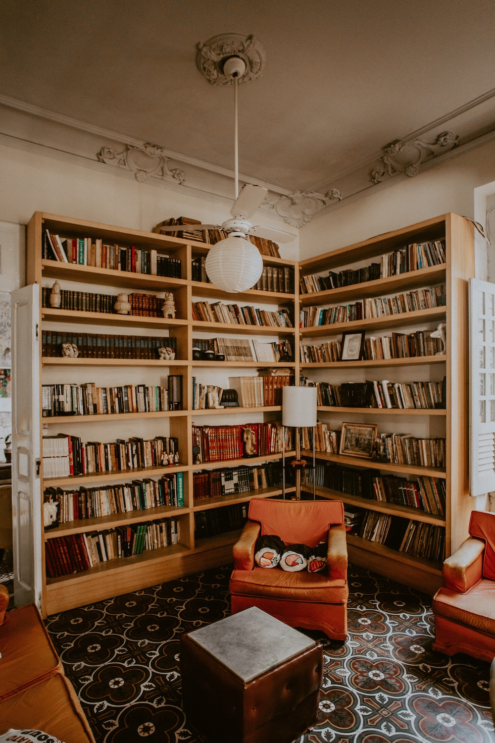 bookcases in living room