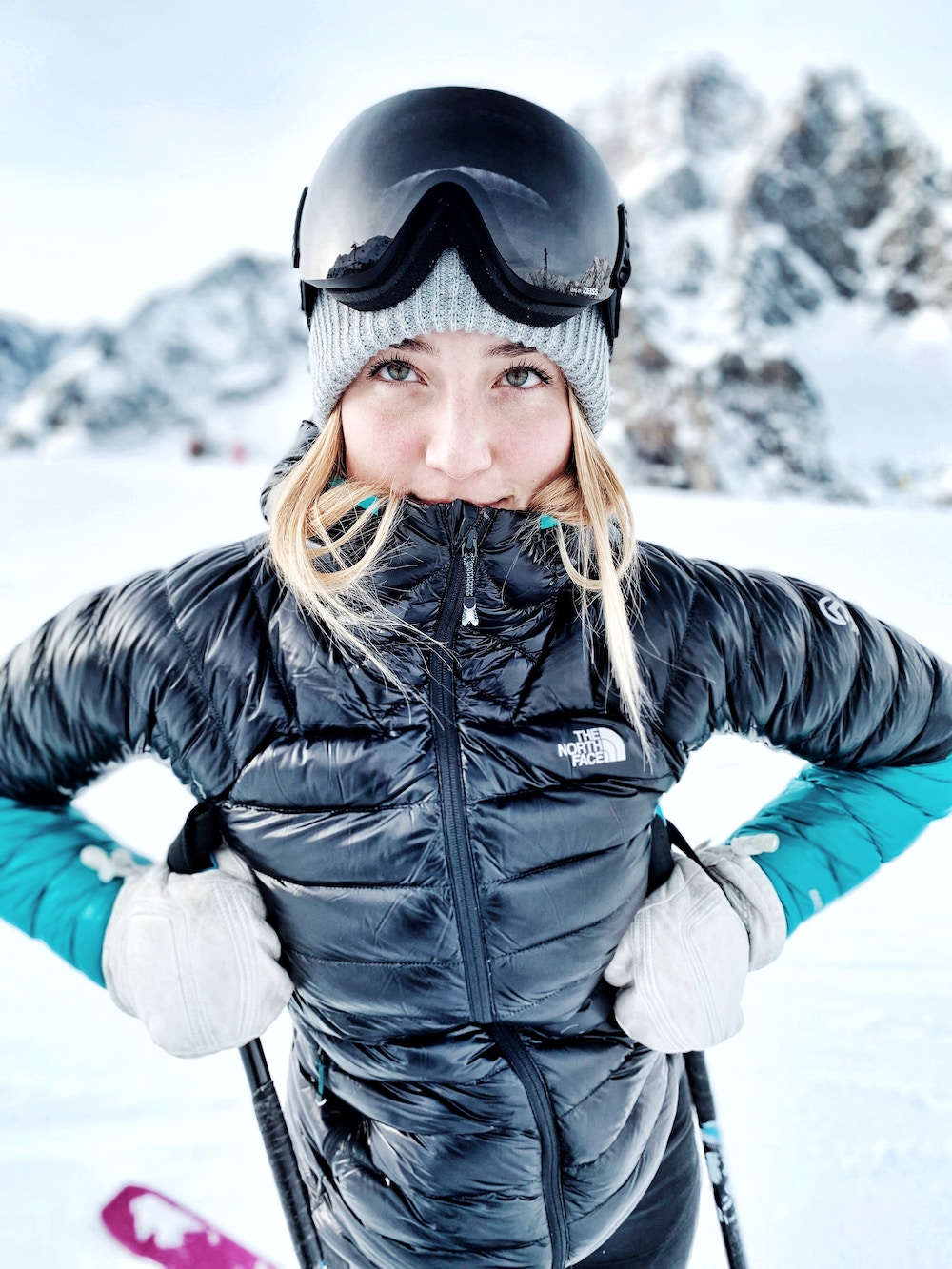 puffer jacket ski outfit