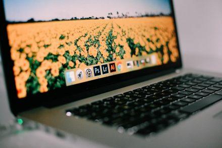 Laptop showing Adobe Lightroom