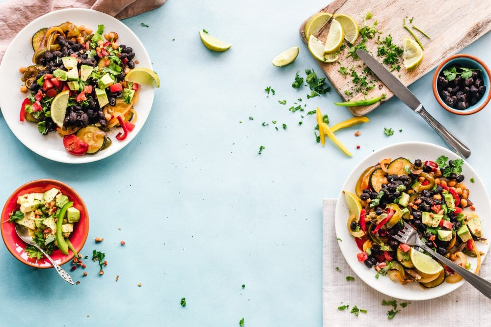 Flat lay of healthy food