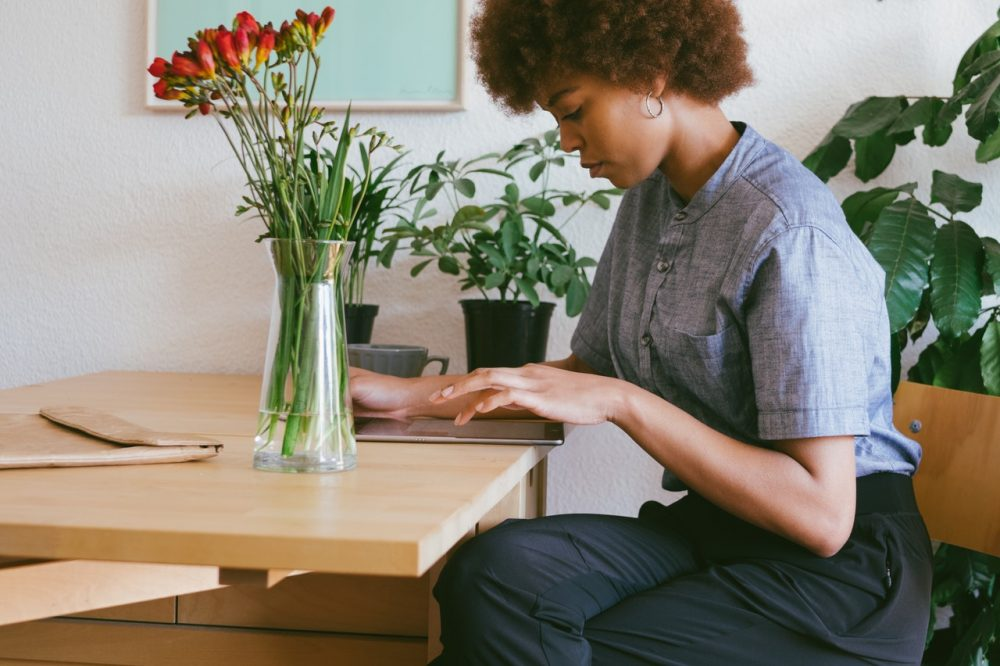 woman on tablet