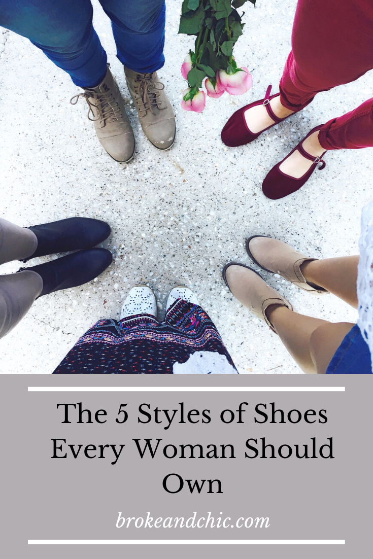 Women standing in a circle showing off shoes
