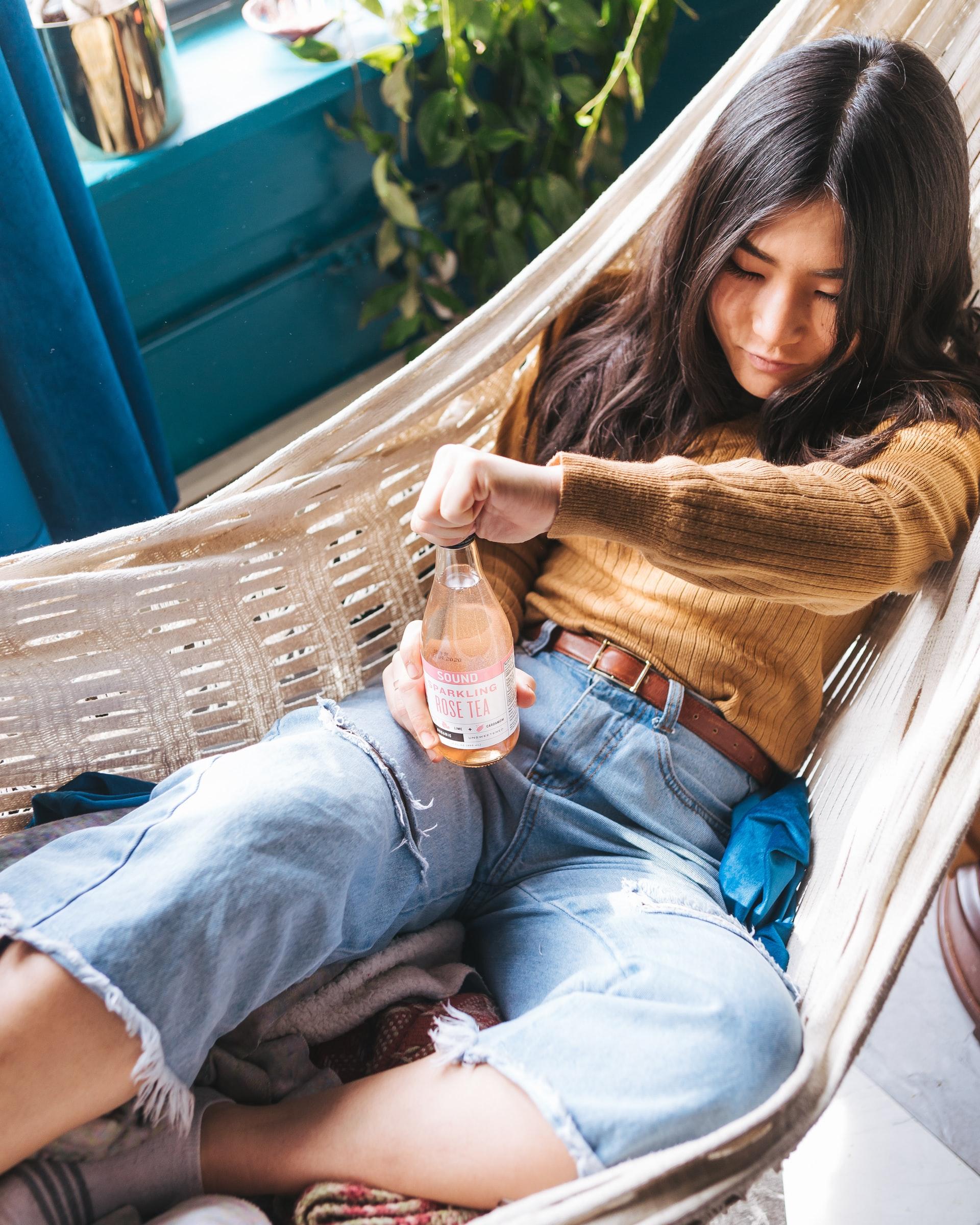 woman in stylish hammock