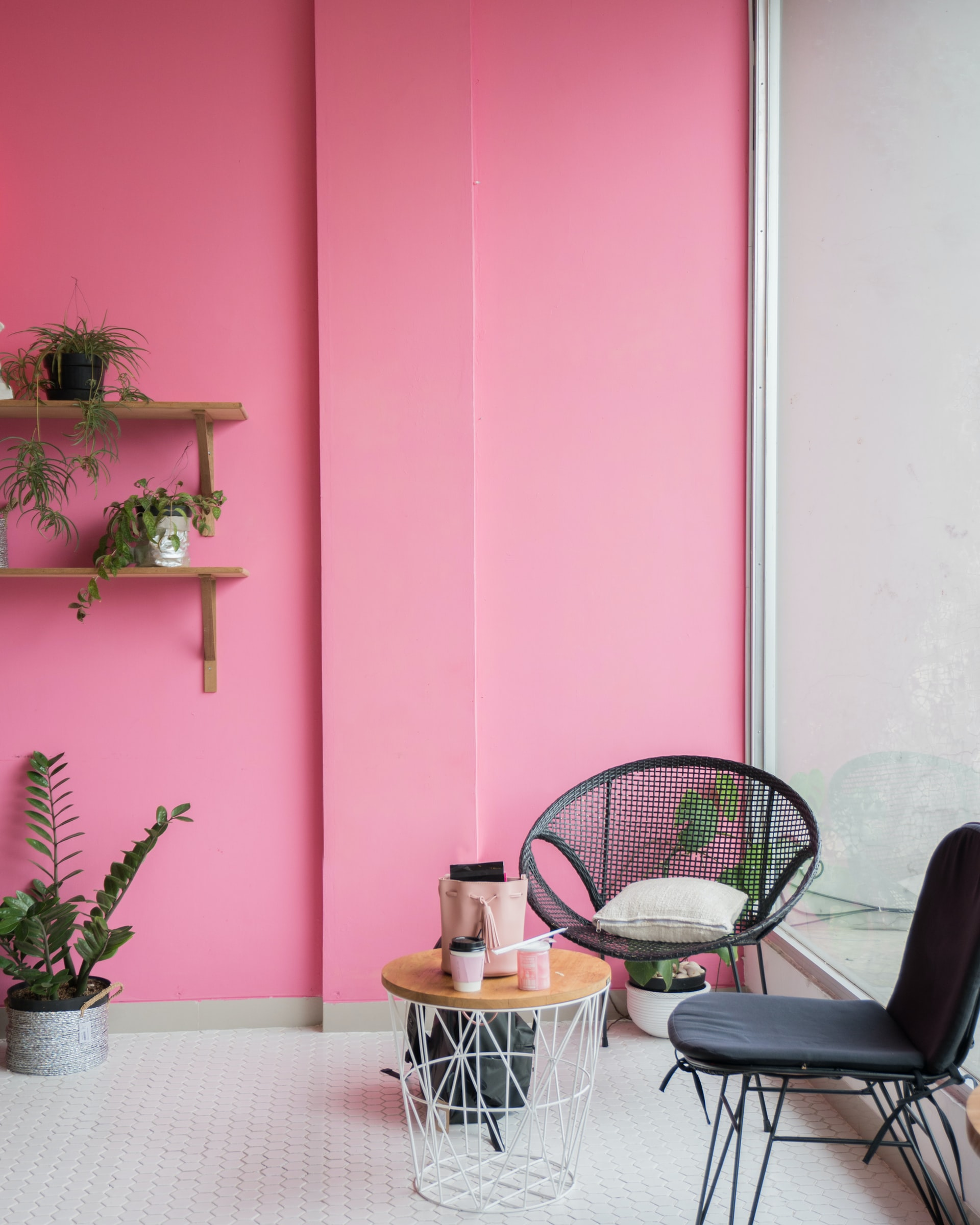 pink statement wall