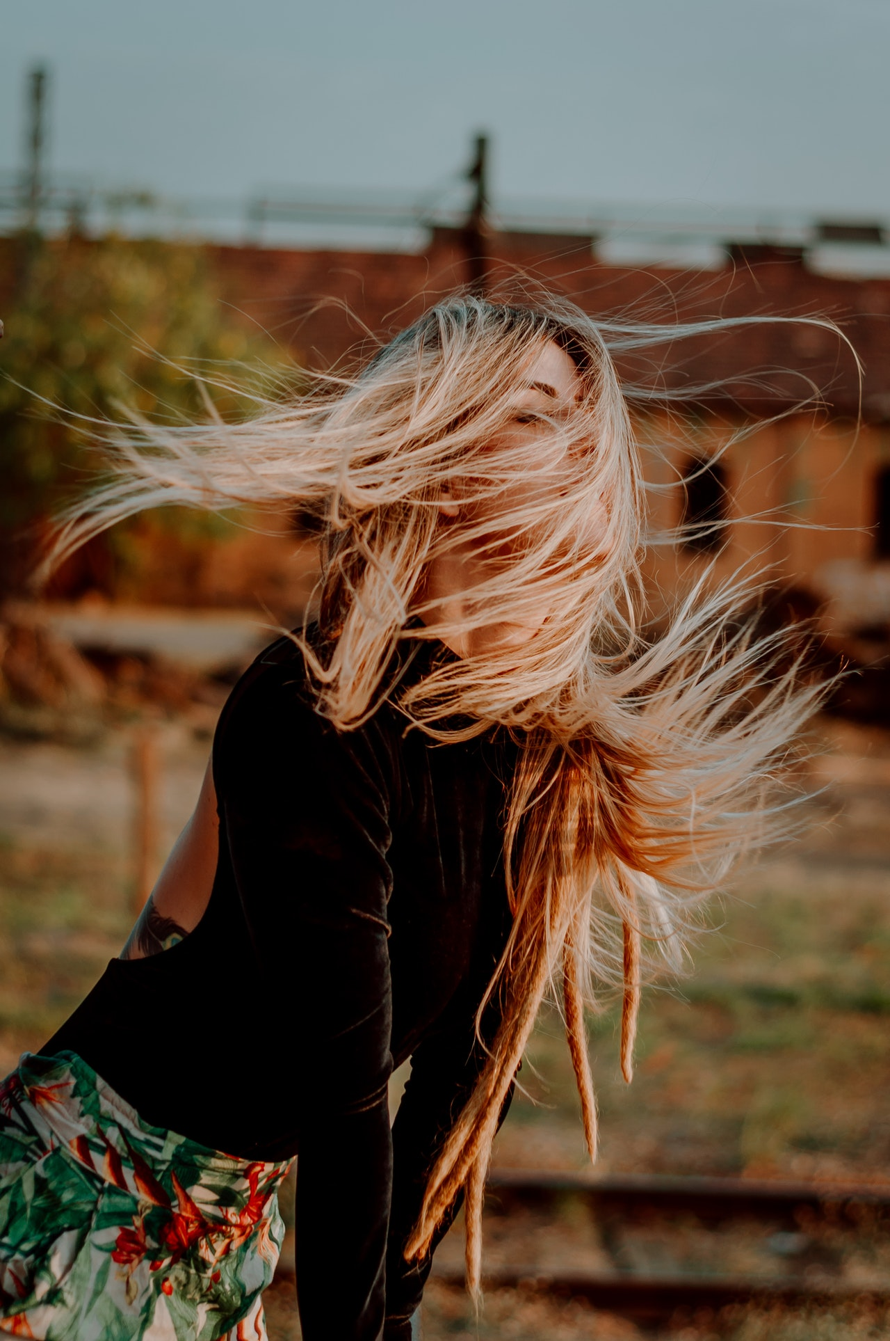 wind blowing in hair