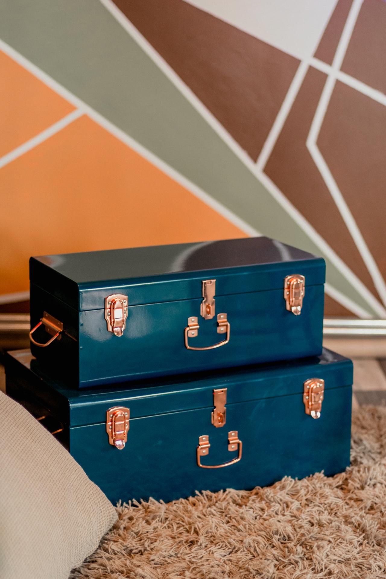 blue storage trunks