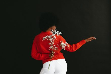 graceful woman with baby's breath flowers