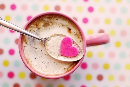 coffee with a heart candy