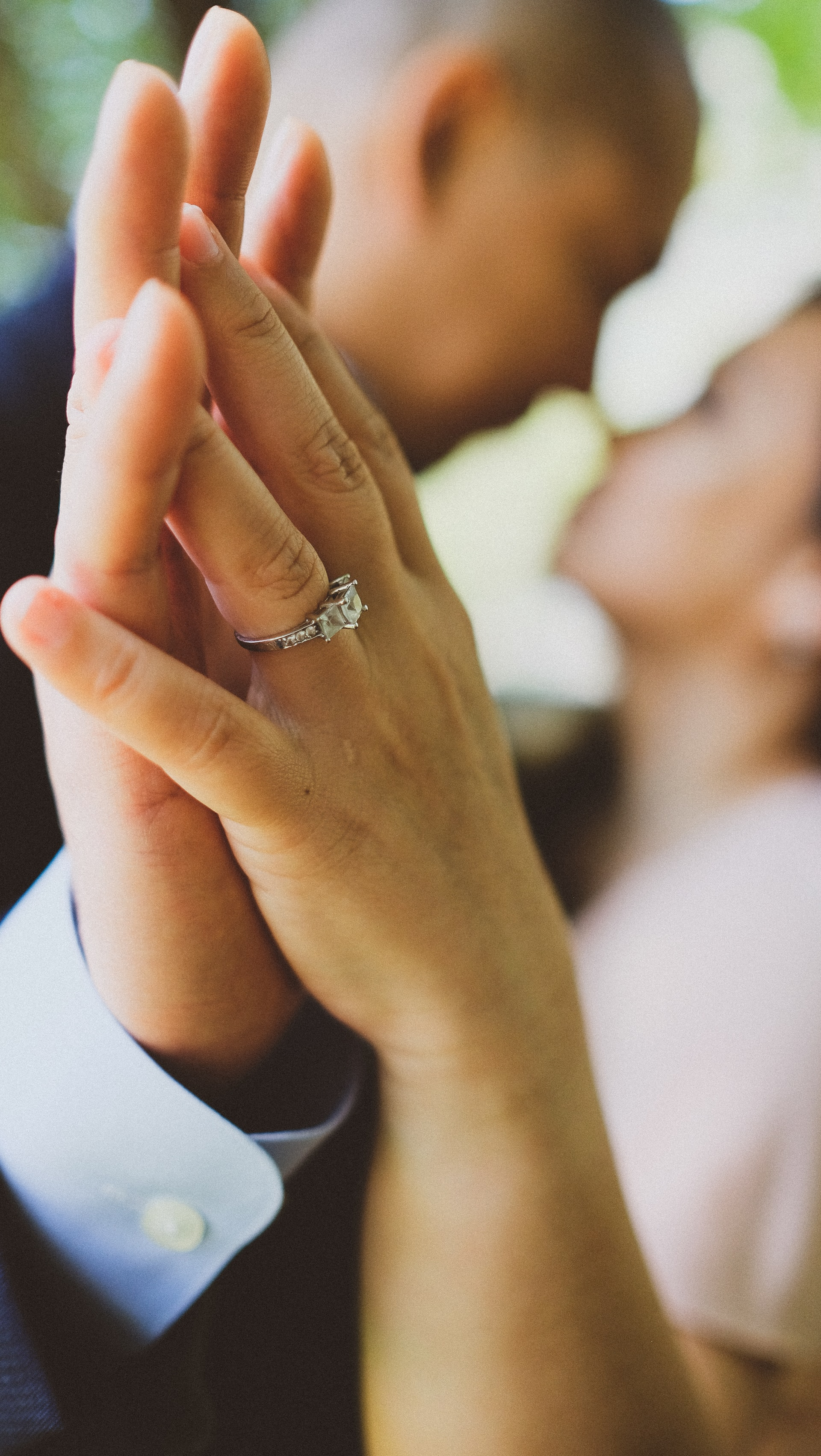 engagement photo with cluster diamond ring