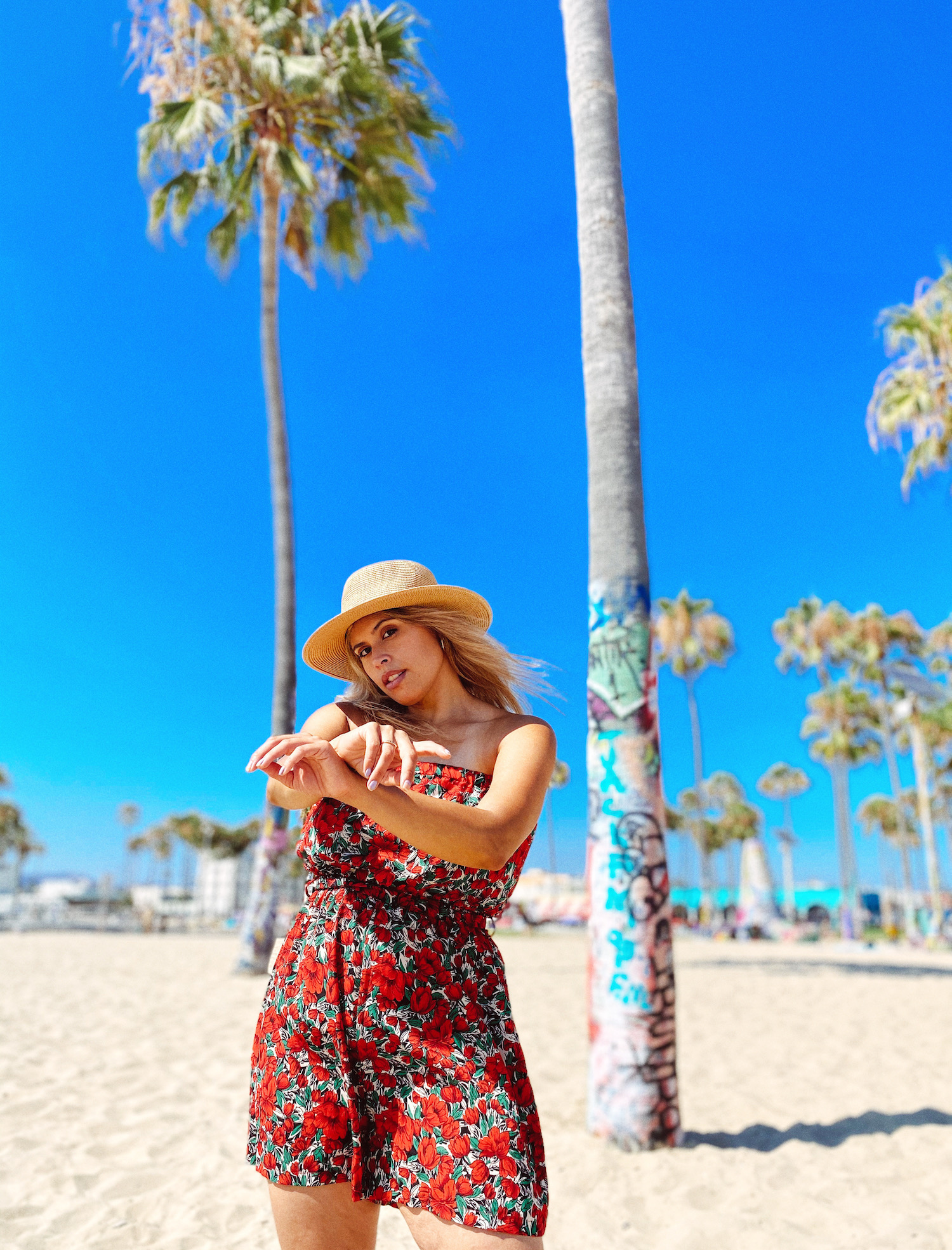photoshoot on Venice Beach with palm trees