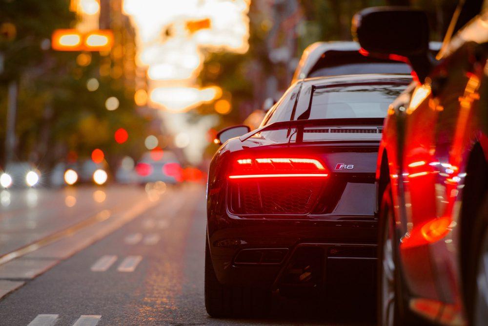 luxury car in traffic