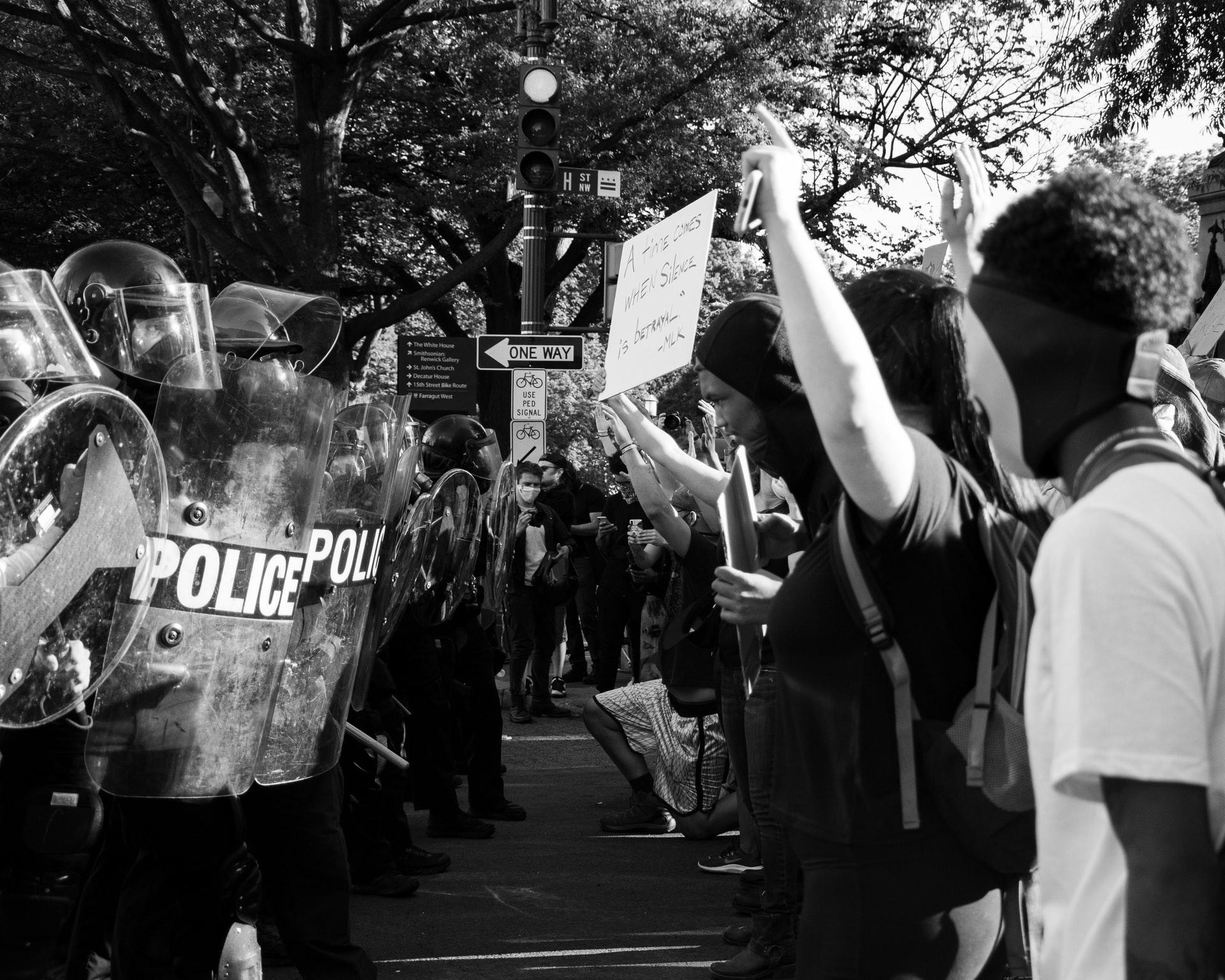 police vs. protesters