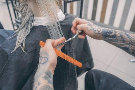 man cutting hair