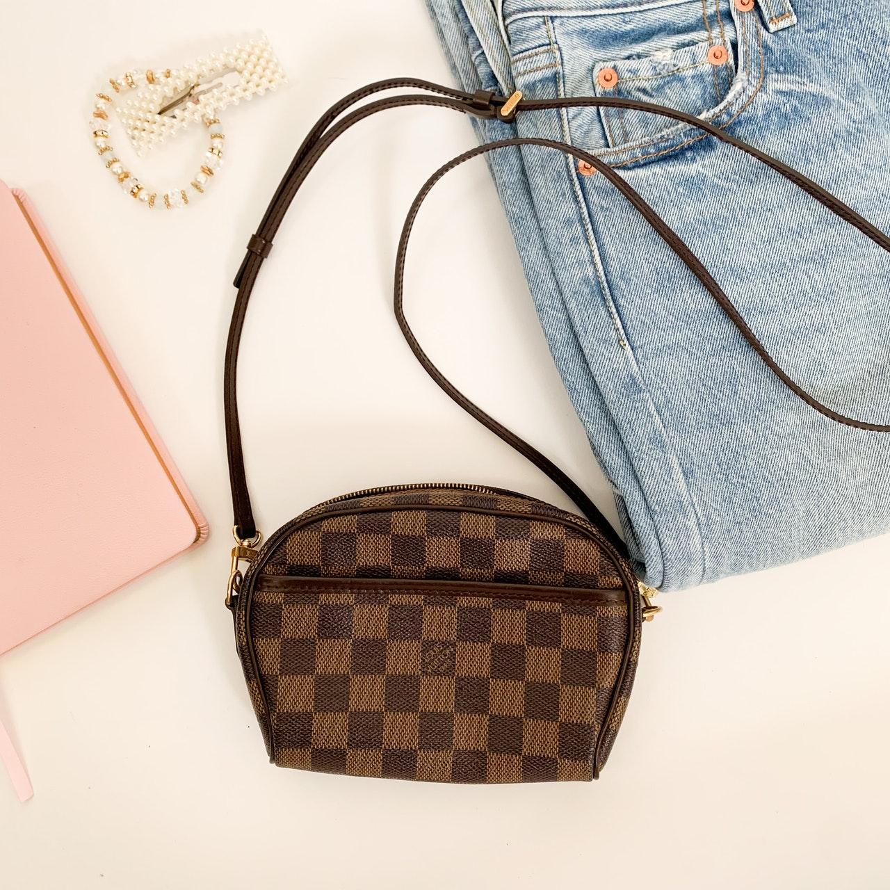 Louis Vuitton bag flat lay