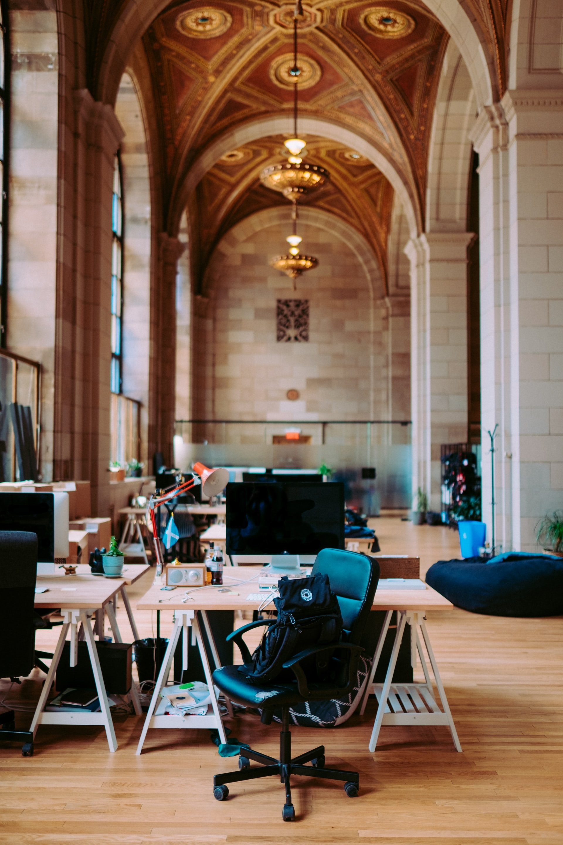 trendy office in an old church