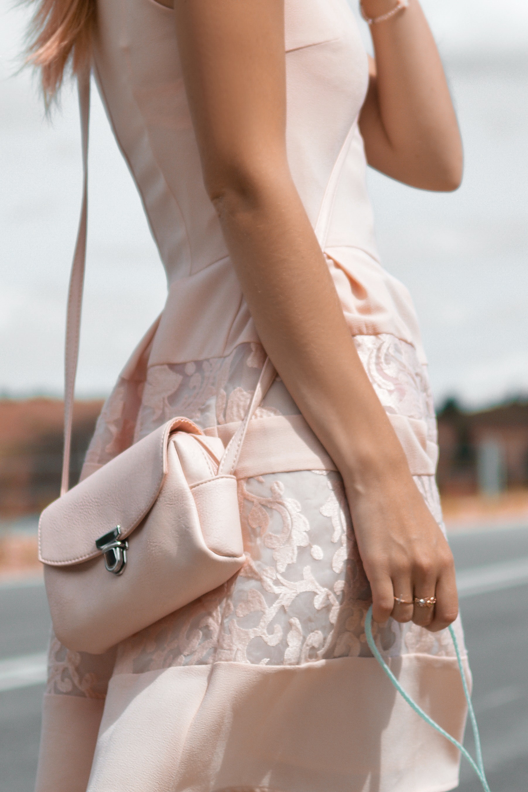 pastel pink dress with lace