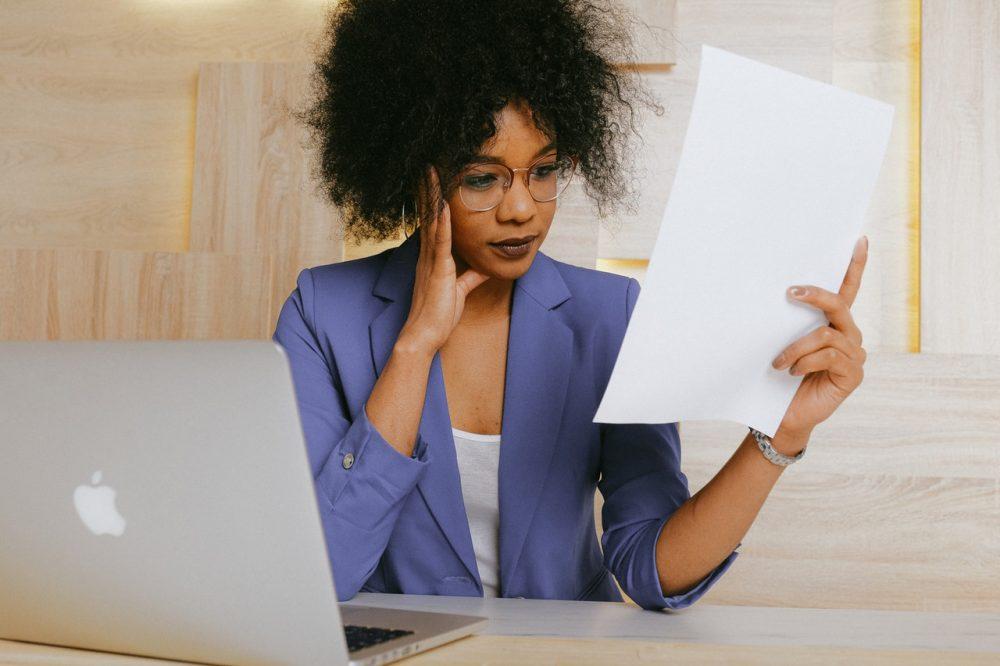 woman reading resume
