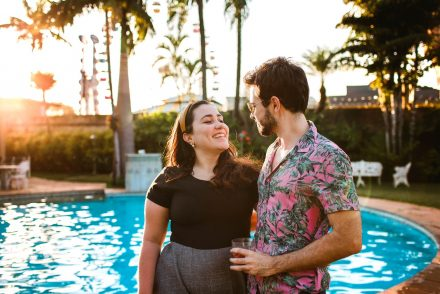 couple by pool