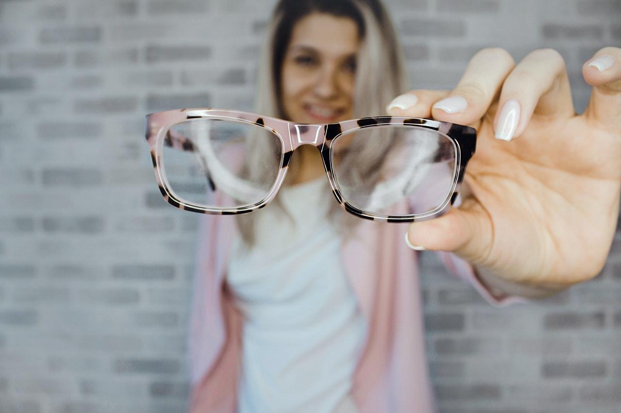 dusty pink eyeglasses