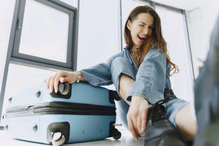 woman with luggage bag