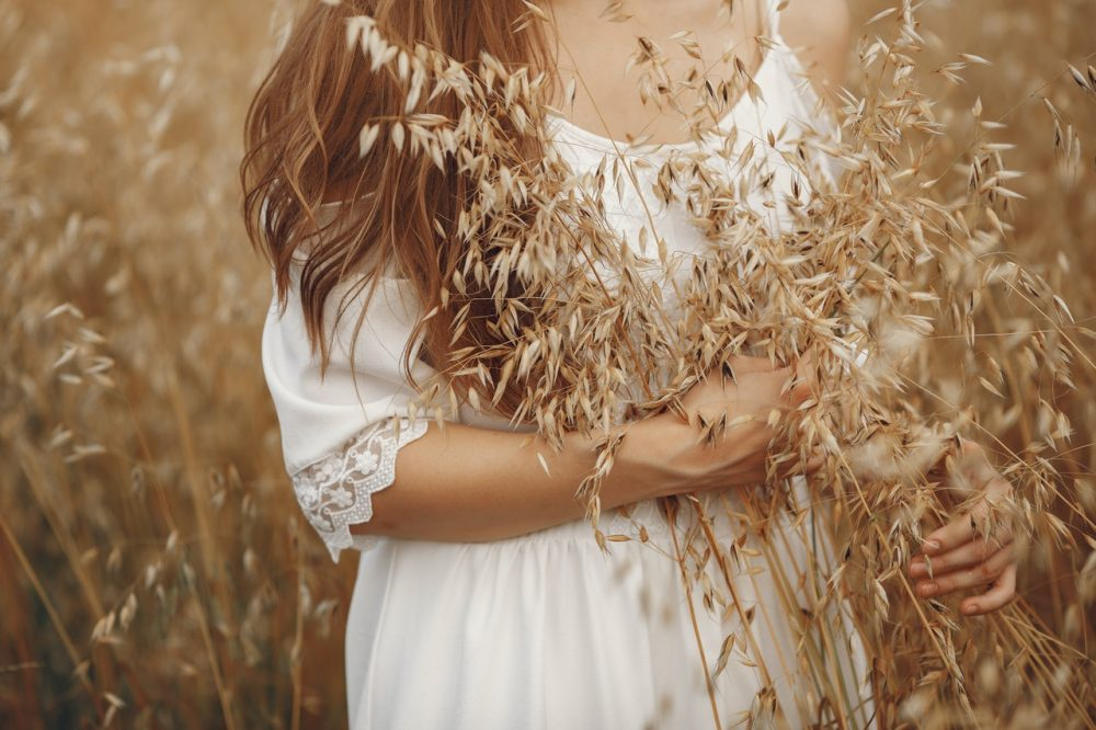 woman holding wheat