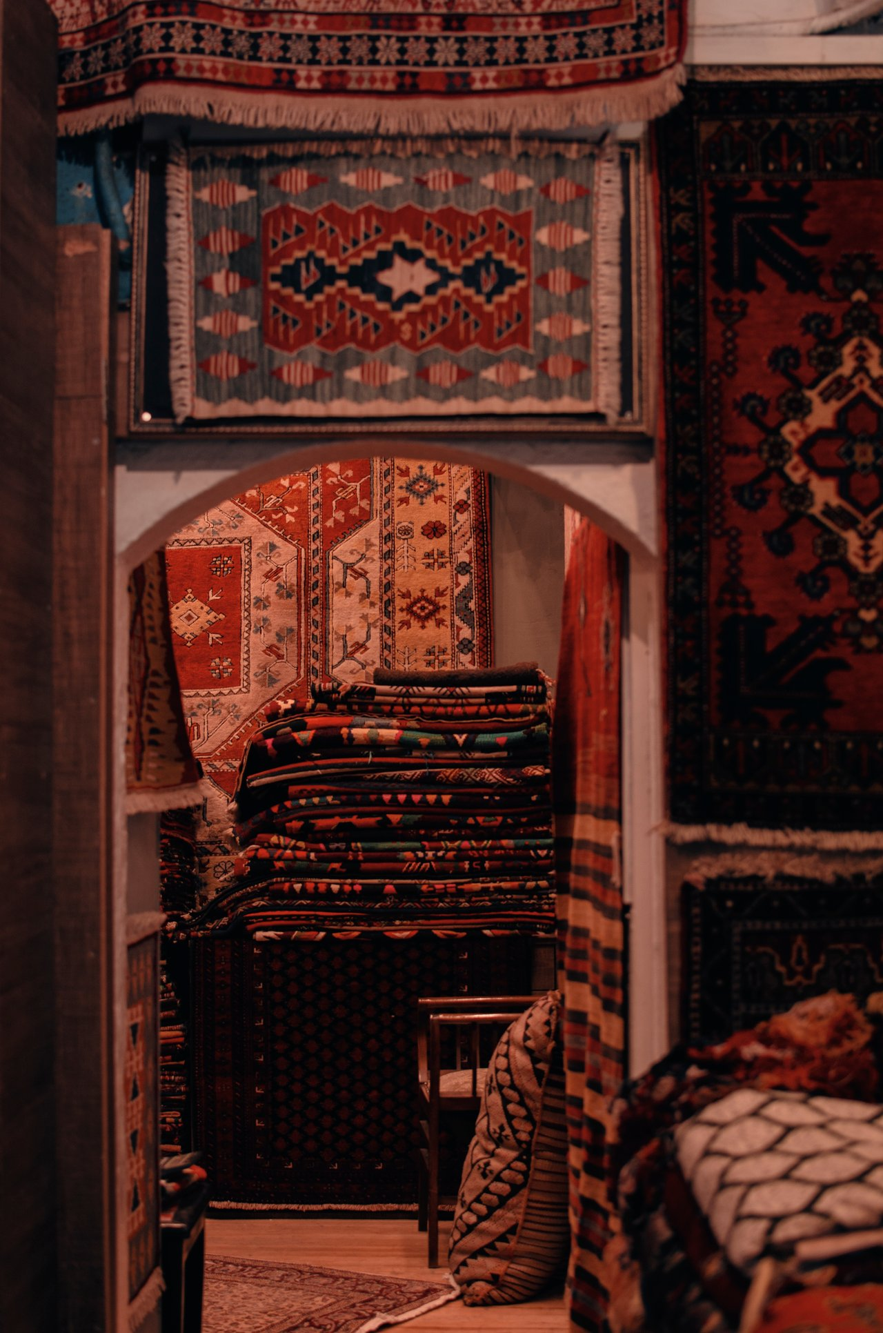 Indian rugs at a store