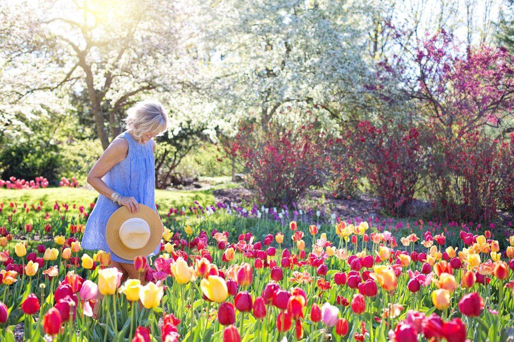 Woman in blue dress walking in a garden full of tulips.