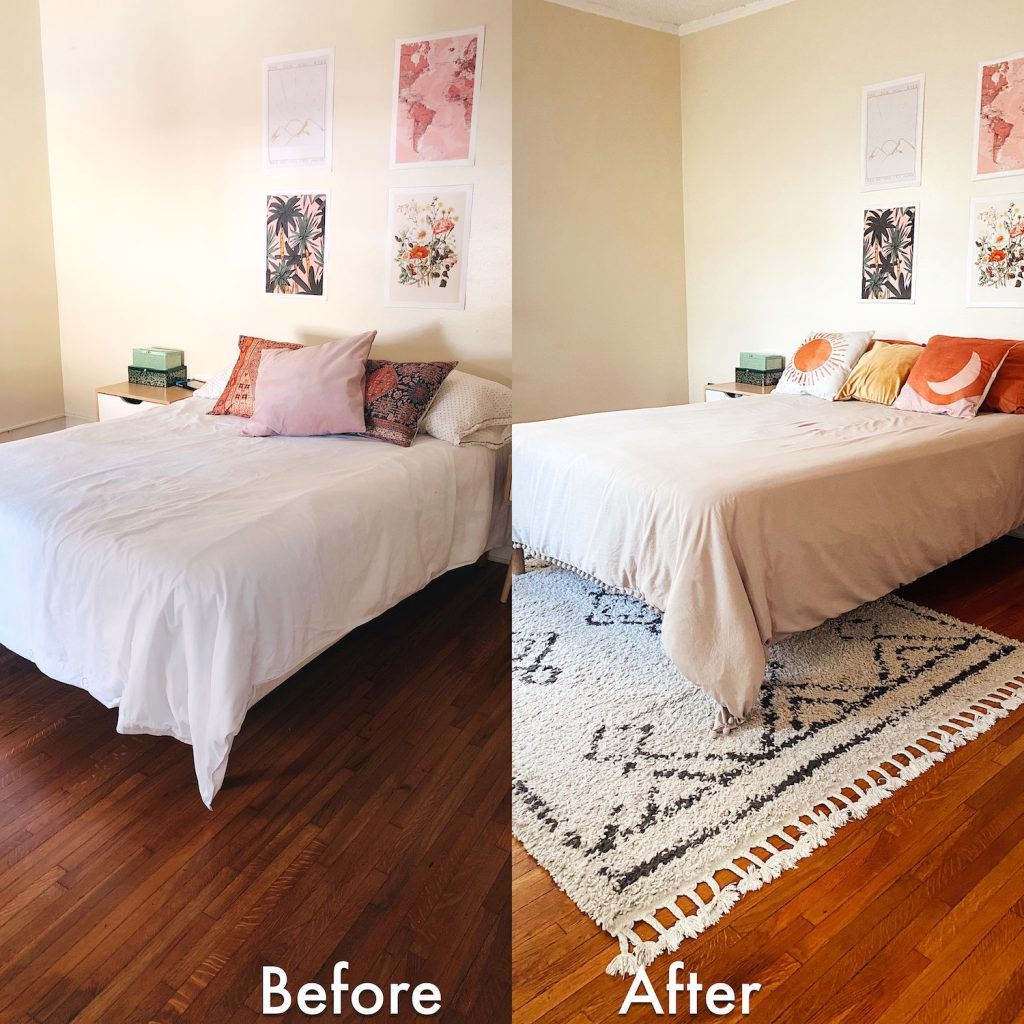 comparison of a bedroom with a boho area rug and without.