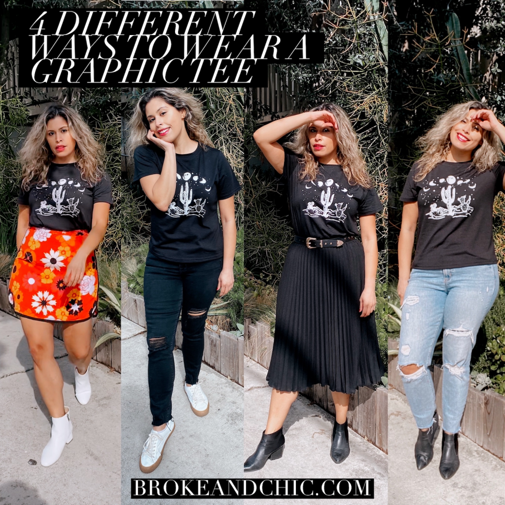 Blogger showing different ways you can style a graphic tee.