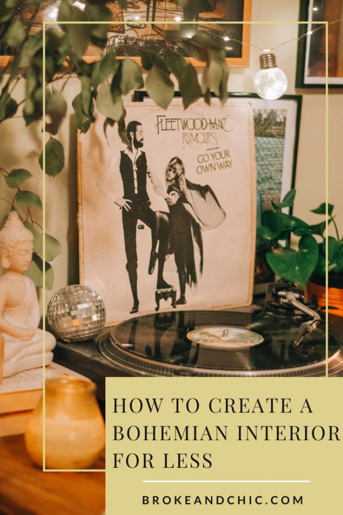Fleetwood Mac record next to record player in boho home.