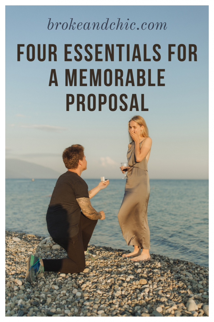 Man proposing to woman at the beach.