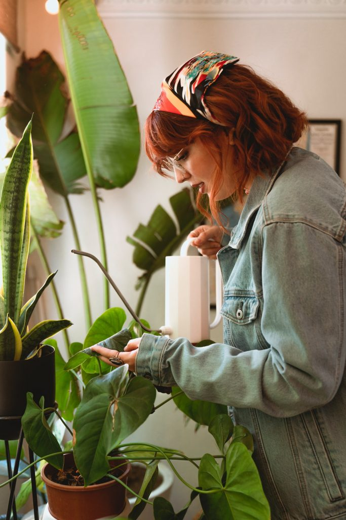 Woman with red hair, a bandana, and jean jacket watering her large plants in her home.