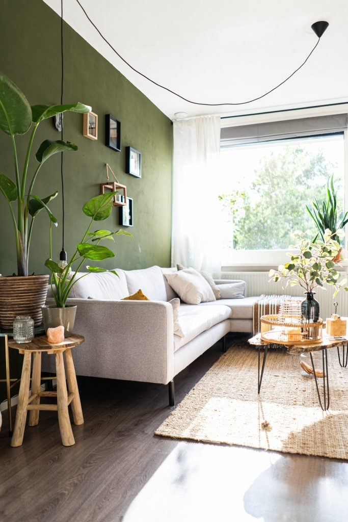 Green statement wall in a living room with a white couch.