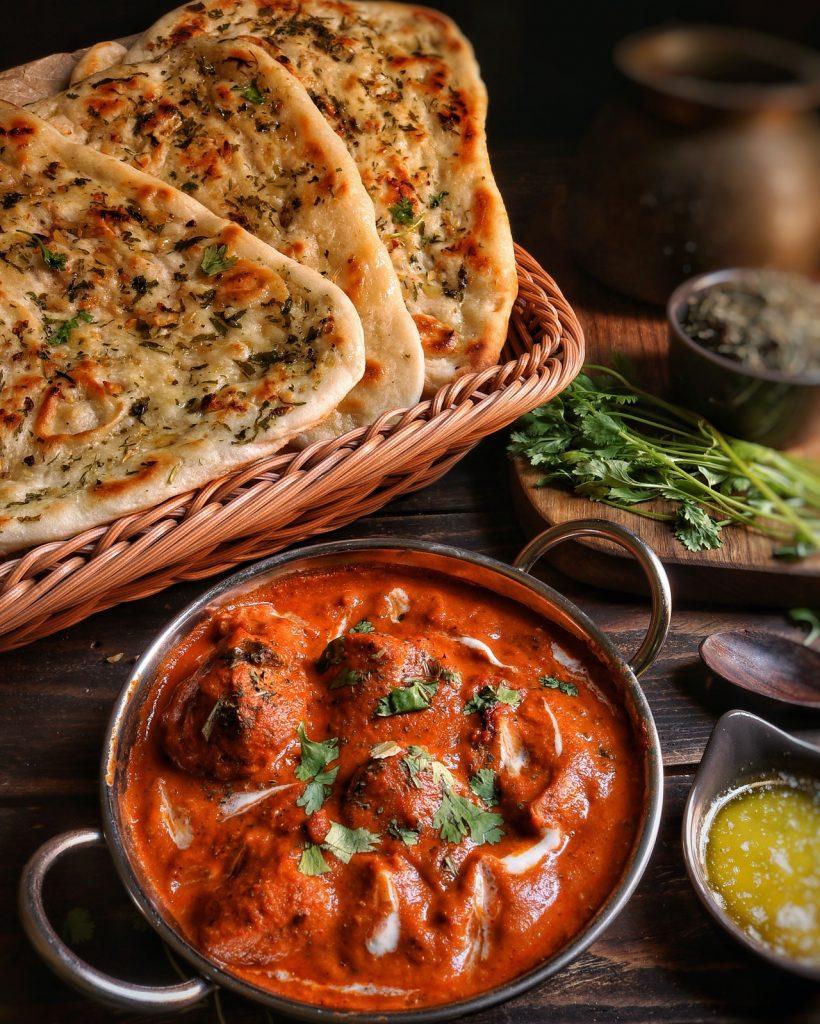 Chicken tikka masala and naan.