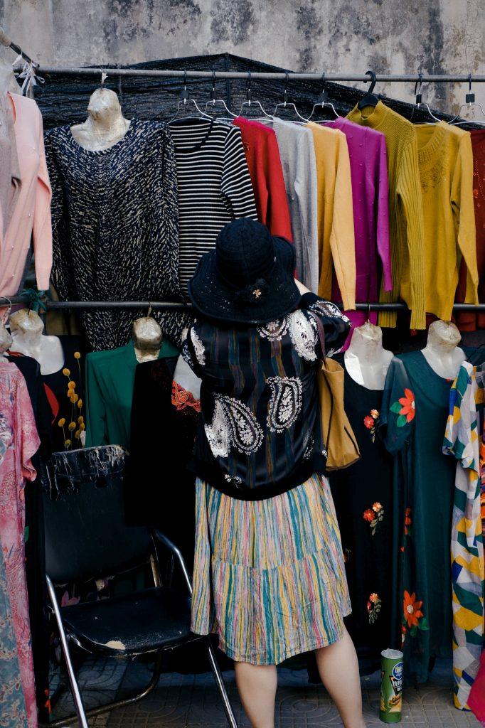 Woman thrifting.