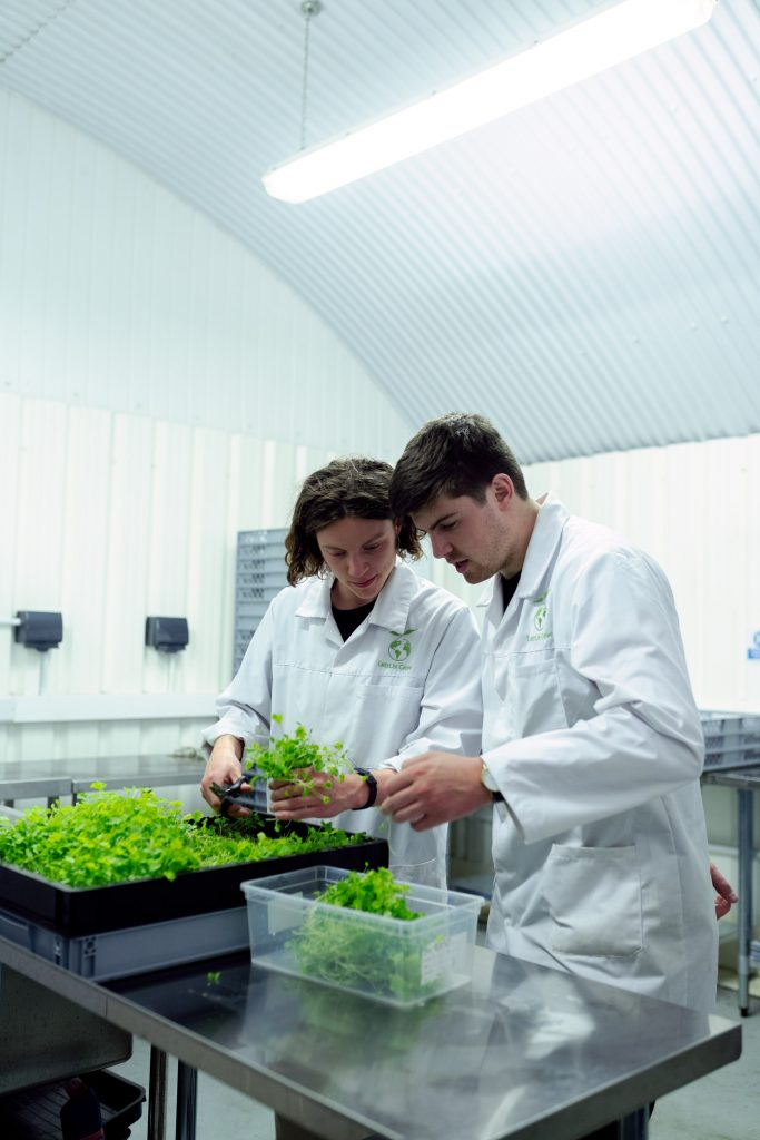 Environmental scientists working in a lab.