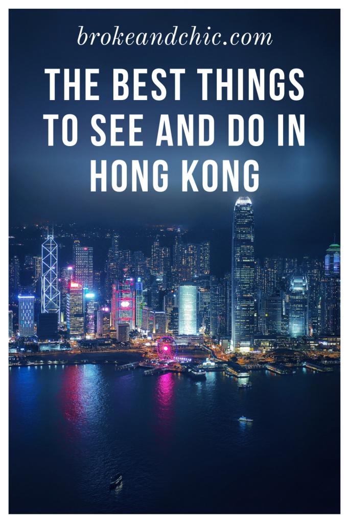 Hong Kong skyline at night with a harbor view.